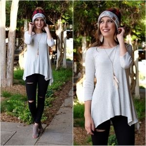 Heather Grey Thermal Knit Tunic